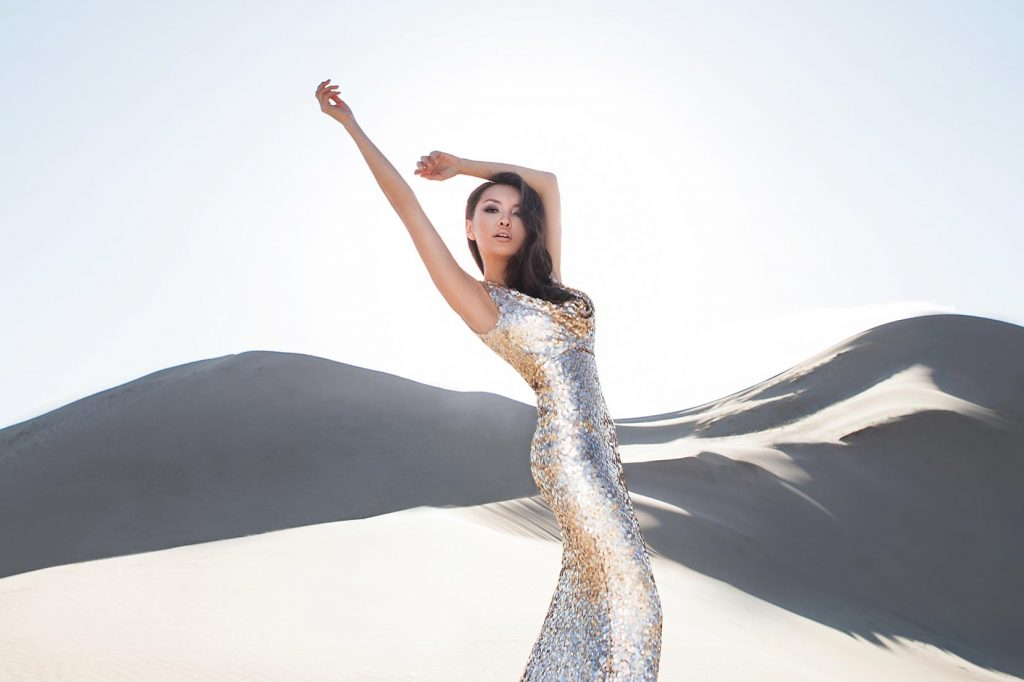 Confident Woman posing at the desert